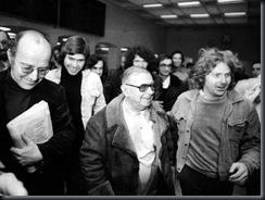 Jean-Paul Sartre y Daniel Cohn-Bendit en Stuttgart, 4 de Diciembre de  1974